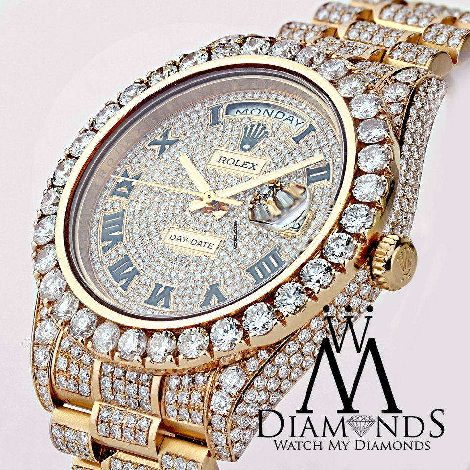 Rolex Day Date Ii President 41mm Custom Rose 33ctw Diamond