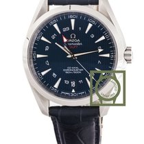 Omega Seamaster Aqua Terra 150m gmt blue dial leather