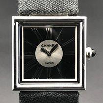 Chanel Mademoiselle Platinum 22,5mm Black Roman numerals