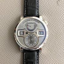 A. Lange & Söhne Platinum Manual winding Silver 42mm pre-owned Zeitwerk