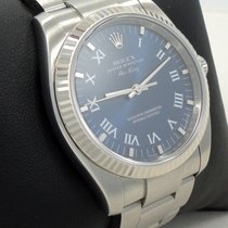 Rolex Air-king 114234 18k White Gold Bezel Blue Dial Oyster Steel