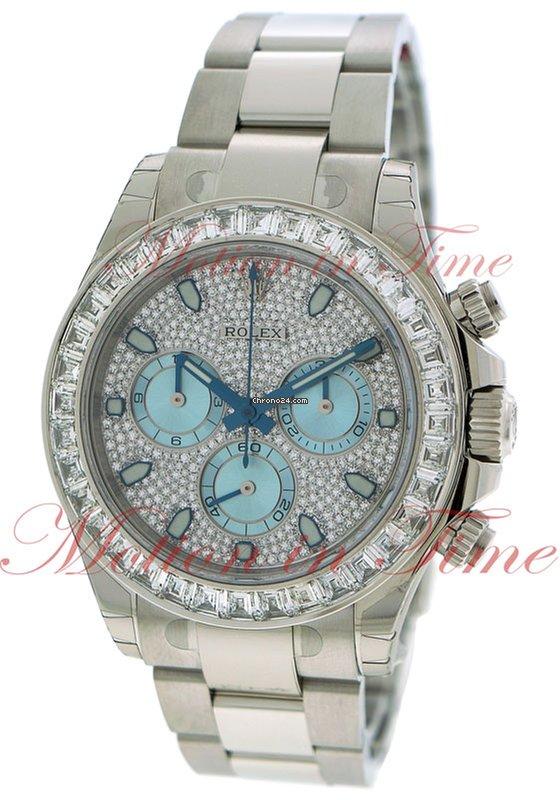 Rolex Cosmograph Daytona Diamond Ice Blue Dial Baguette Diamond Bezel Platinum On Bracelet