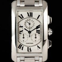 Cartier 18k White Gold Tank Americaine Chronoflex B&P W26033L1