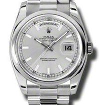 Rolex Platinum Automatic Silver No numerals 36mm pre-owned Day-Date 36