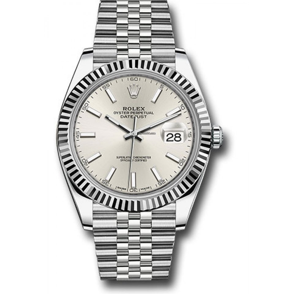 Rolex Datejust 41mm Stainless Steel \u0026 18K White Gold Model 126334 Factory  Silver Index Dial Jubilee Band Fluted Bezel , UNUSED