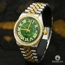 Rolex Datejust Gold/Steel Green Roman numerals