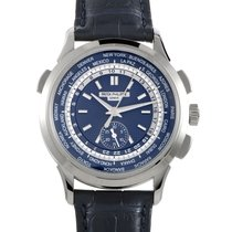 Patek Philippe World Time Chronograph White gold 39.5mm Blue No numerals United States of America, New York, Greenvale