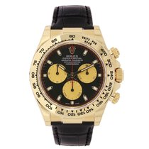 Rolex DAYTONA 18K Yellow Gold Paul Newman Dial Black Leather...