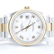 Rolex Mens 18K/SS Date -White Arabic Dial - Oyster Band -...
