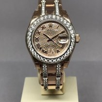 Rolex Or rose Remontage automatique Nacre Romains 29mm nouveau Lady-Datejust Pearlmaster