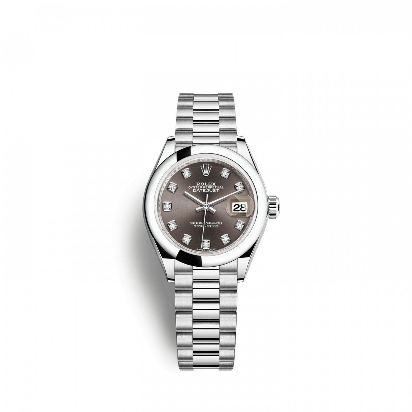 Rolex Lady Datejust 28 28 Mm Platinum 279166 0011 Ladies Watch