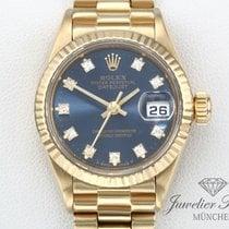 Rolex Gelbgold Automatik Blau Keine Ziffern 26mm gebraucht Lady-Datejust