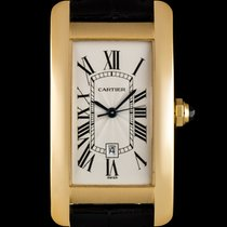 Cartier 18k Y/Gold Silver Guilloche Dial Tank Americaine W2603556