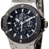 Hublot Big Bang Aero Black Skeleton Dial Chrono Leather Men...