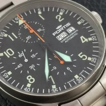 Fortis Flieger Steel 40mm Black Arabic numerals