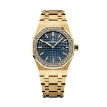 Audemars Piguet Royal Oak Quartz Yellow Gold Blue Dial Diamond...
