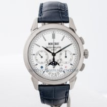 Patek Philippe Perpetual Calendar Chronograph pre-owned 41mm Silver Moon phase Chronograph Date Perpetual calendar Crocodile skin
