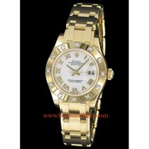 Rolex Lady-Datejust Pearlmaster occasion 29mm Blanc Date Or jaune