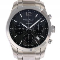 Longines Conquest Classic Stahl Automatik Chronograph Stahlban...