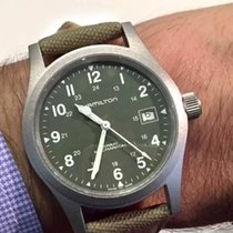 Hamilton Khaki Field Officer Steel 38mm Green Arabic numerals