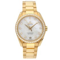 Omega Yellow gold Automatic Mother of pearl No numerals 38.5mm pre-owned Seamaster Aqua Terra