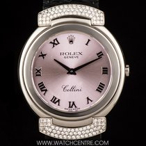 Rolex 18k White Gold Pink Roman Dial Cellini Ladies 6682/9