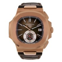 パテック フィリップ Nautilus Chronograph Rose Gold Leather Strap Watch...