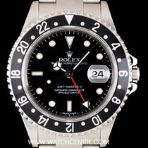 Rolex S/S Black Stick Dial GMT-Master II Gents B&P 16710