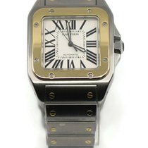 Cartier Santos 100 pre-owned 38mm Silver Gold/Steel