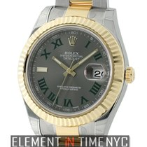 Rolex Datejust II 41mm Steel & Yellow Gold Grey Dial Green...