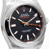 Rolex Steel 40mm Milgauss Black Luminescent Dial 116400 model