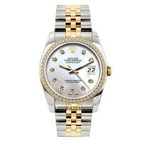Rolex Datejust Men's 36mm White Mother Of Pearl Dial Yellow...