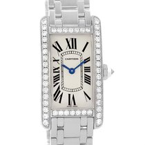 カルティエ (Cartier) Tank Americaine 18k White Gold Diamond Watch...