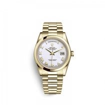 Rolex Yellow gold Automatic White 36mm new Day-Date 36