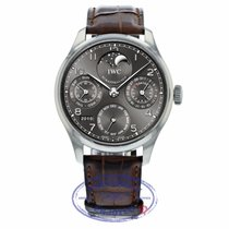 IWC Portuguese Perpetual Calendar pre-owned 44.2mm Grey Moon phase Date Weekday Month Year Perpetual calendar Crocodile skin
