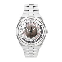 Vacheron Constantin Overseas World Time pre-owned 43.5mm Silver GMT Fold clasp