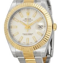 Rolex Datejust II Ivory Index Dial 18k Yellow Gold Bezel 116333