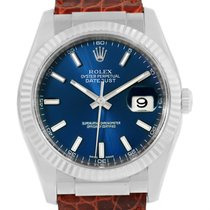 Rolex Datejust 18k White Gold Blue Dial Mens Watch 116139 Box...
