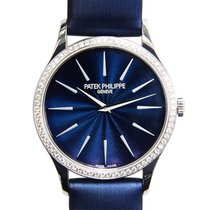 Patek Philippe Calatrava White Gold Diamond Blue Manual Wind...