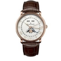 Blancpain Villeret Quantième Complet pre-owned 40mm White Moon phase Date Month Crocodile skin