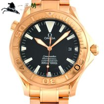 Omega Rose gold Automatic Black 41mm pre-owned Seamaster Diver 300 M