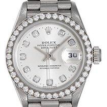 Rolex Ladies Diamond & 18k White Gold Rolex President...