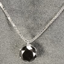 Hand Made 18kt White Gold Pendant With Solitaire Black Diamond...