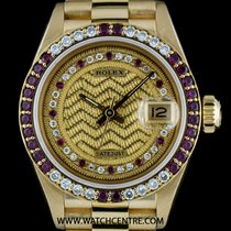 Rolex 18k Y/G O/P Rare Decorated String Dial Ruby & Dia...