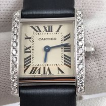 Cartier Белое золото Кварцевые Белый Римские 25mm новые Tank Française
