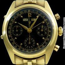 Rolex 6036 Vintage Triple Date Calendar Chronograph 18k Black...