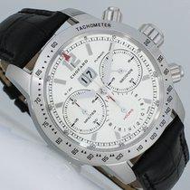 Chopard Mille Miglia gebraucht 42.5mm Silber Chronograph Flyback-Funktion Panoramadatum Datum Krokodilleder