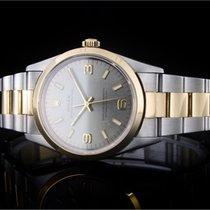 Rolex Oyster Perpetual 34 Ouro/Aço 34mm Cinzento Árabes