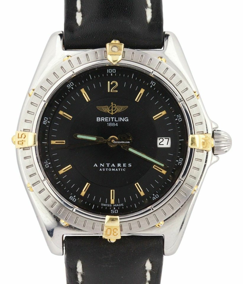 Breitling Antares Automatic 39mm 18k Gold Stainless Steel Black B10048 Watch