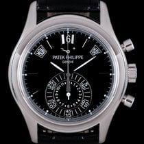 Patek Philippe Platinum Automatic Black 40.5mm pre-owned Annual Calendar Chronograph